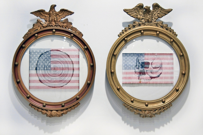 Jeremy Dean, Future Prehistoric, 2010, mix media screenprint with American flag, needles in antique frame, each approx. 21x31in (53x79cm)