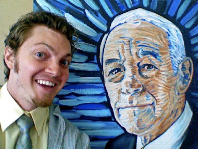 Adam Schwankl with his portrait of Ron Paul