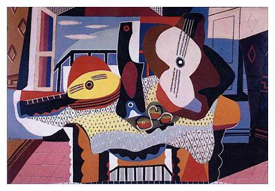 """Still Life with mandolin and Guitar"" Pablo Picasso Example of synthetic cubism"