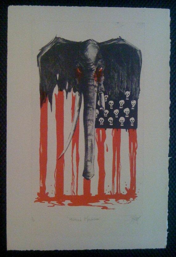 Political Mastodon by Unknown Artist. Etsy name is MRUK.